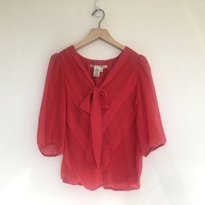 Max Studio Red Chiffon V Neck Pussybow Blouse